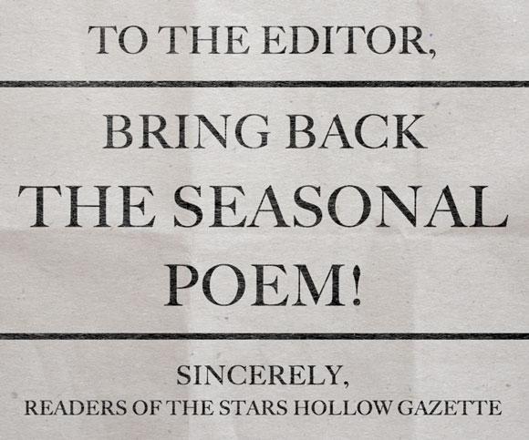 Bring back the seasonal poem